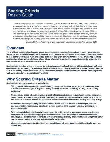Scoring Criteria Design Guide   Great Schools Partnership