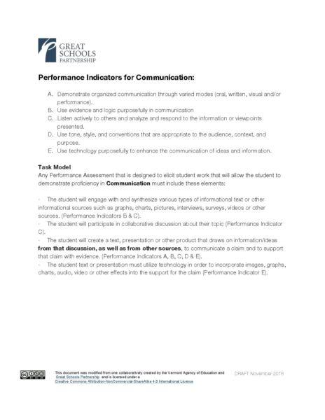 Sample Task Model for Communication | Great Schools Partnership